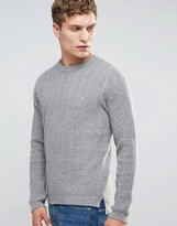 Farah Sweater With Rib In Slim Fit Gray