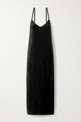 Ninety Percent Net Sustain Micro Modal-blend Velour Maxi Dress - Black