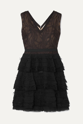Jason Wu Collection Tiered Cotton-blend Lace And Chiffon Mini Dress - Black