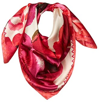 Vince Camuto Spring Roses Silk Square (Taupe) Scarves