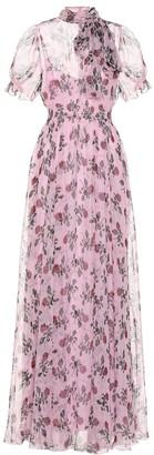 Valentino Floral silk-chiffon dress