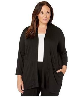 Eileen Fisher Plus Size Tencel Stretch Terry Kimono Bracelet Sleeve Jacket