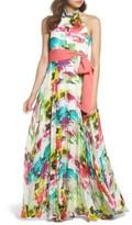 Eliza J Women's Print Chiffon Halter Maxi Dress