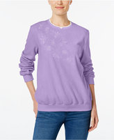 Alfred Dunner Petite Classics Embroidered Knit Top