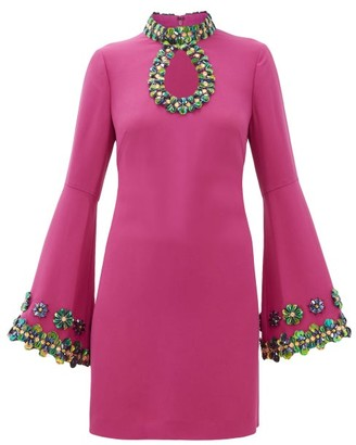 Andrew Gn Embellished Flare-sleeve Crepe Mini Dress - Womens - Pink