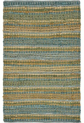 Bungalow Rose Kia Striped Handmade Braided Blue/Green Area Rug