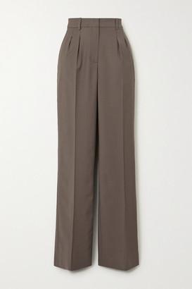 LOULOU STUDIO Sbiru Pleated Wool Straight-leg Pants - Gray