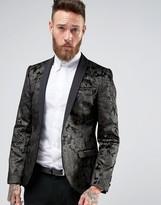 Noose & Monkey Super Skinny Blazer In Floral Velvet with Shawl Lapel