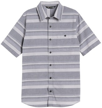 Travis Mathew Fist Bump Stripe Print Short Sleeve Shirt