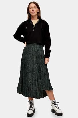 Topshop Womens Khaki Smudge Animal Pleated Skirt - Khaki