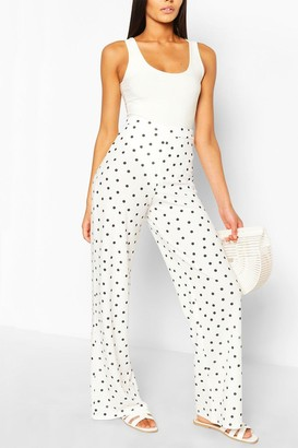 boohoo Polka Dot Crepe Wide Leg Pants
