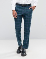 Asos Slim Pants In Blue And Green Bold Check