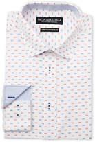 Nick Graham White Dot Print Stretch Modern Fit Dress Shirt