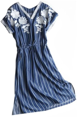 Goodnight Macaroon 'Kary' Striped Chambray Embroiedered Dress (2 Colors)