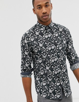 Ted Baker long sleeve linen shirt with floral print-Black