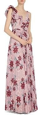 ML Monique Lhuillier Ruffled Floral Print Gown