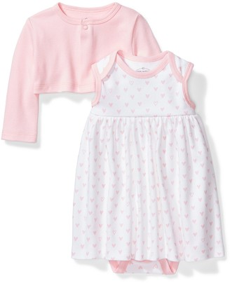 Moon and Back Baby Girls' Organic Dress and Cardigan Set