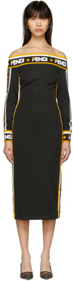 Fendi Black Mania Off-The-Shoulder Dress