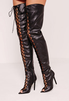 Missguided Lace Up Thigh High Gladiator Boot