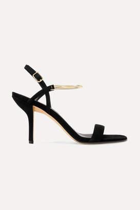 Diane von Furstenberg Frankie Embellished Suede Sandals - Black