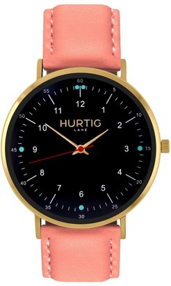 Hurtig Lane Moderna Vegan Leather Watch Gold, Black & Coral