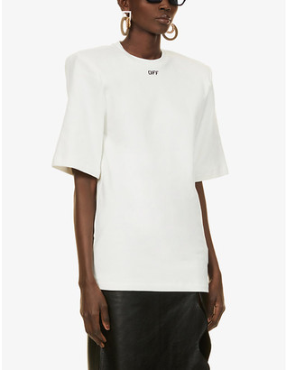 Off-White Logo-print padded-shoulder cotton-jersey T-shirt