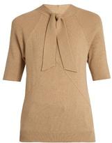 Tomas Maier Tie-neck cashmere-knit top