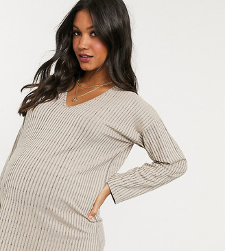 Missguided Maternity two-piece v-neck top in beige