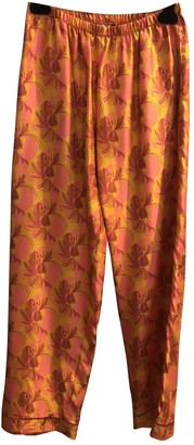 Laura Urbinati Orange Silk Trousers for Women