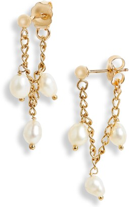 Set & Stones Cammy Pearl Chain Wrap Earrings