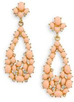 Kenneth Jay Lane Cabochon Cluster Teardrop Earrings