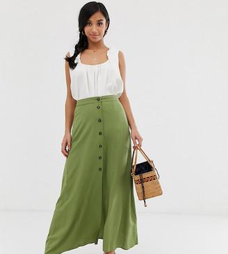 Asos DESIGN Petite button front maxi skirt
