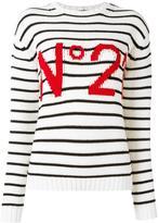 No.21 logo pattern striped jumper