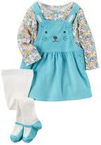 Carter's Baby Girl Print Tee, Embroidered Corduroy Jumper & Tights Set