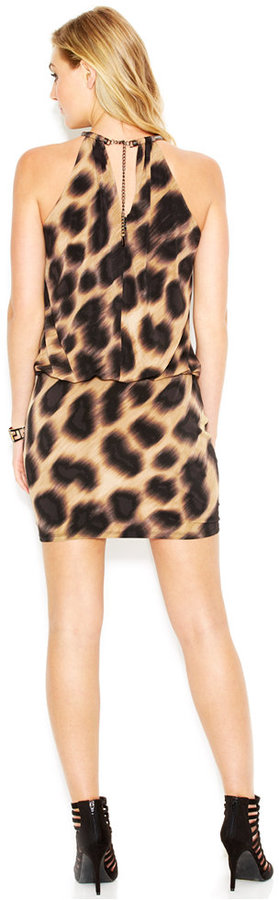 Jessica Simpson Animal-Print Blouson Halter Dress