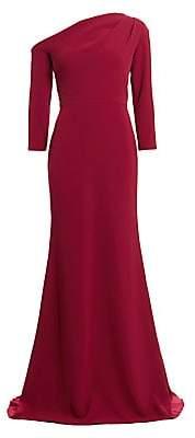 Lela Rose Women's Asymmetric Neckline Crepe Trumpet Gown