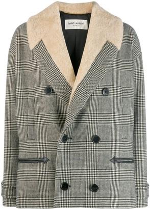 Saint Laurent Houndstooth Cropped Coat