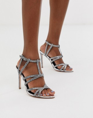 Asos DESIGN High Maintenance strappy pointed heeled sandals in silver