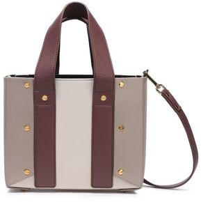 Yuzefi Studded Color-block Textured-leather Shoulder Bag