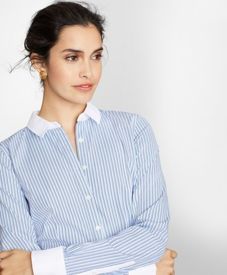 Brooks Brothers Petite Non-Iron Tailored-Fit Striped Cotton Dobby Shirt
