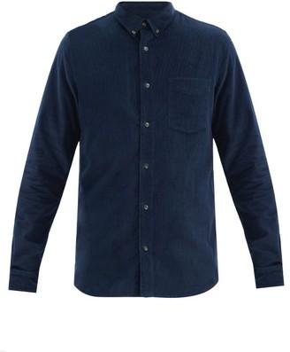 A.P.C. Serge Cotton-needlecord Button-down Shirt - Dark Blue