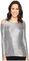 MICHAEL Michael Kors Foil Long Sleeve Cold Shoulder