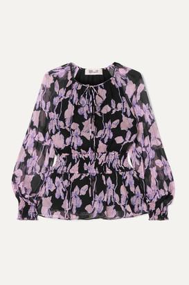 Diane von Furstenberg Jacie Shirred Floral-print Silk-chiffon Blouse - Purple