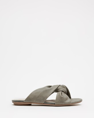 Walnut Melbourne Women's Green Flat Sandals - Rowie Leather Slides - Size 39 at The Iconic