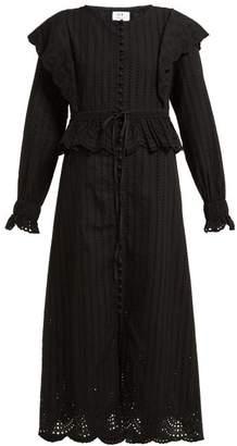 Leila Sir Broderie-anglaise Cotton Midi Dress - Womens - Black