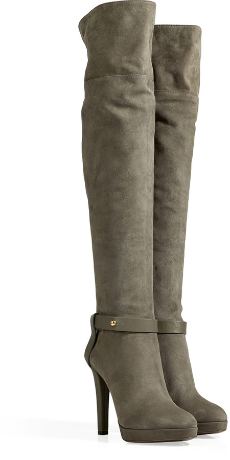 Sergio Rossi Suede Leather High Heel Boots in Stone Grey
