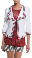 St. John Clair Striped-Trim 3/4-Sleeve Jacket, Bianco/Multi