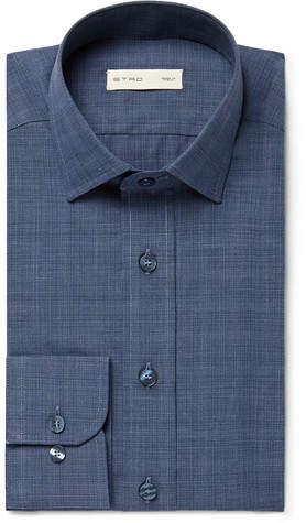 Etro Blue Slim-Fit Checked Cotton Shirt