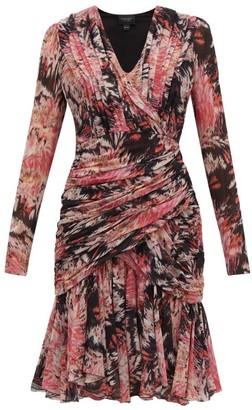 Giambattista Valli Floral-print Ruched Silk Dress - Womens - Black Multi