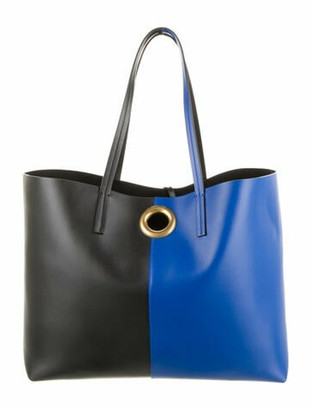 Versace Colorblock Leather Tote Navy